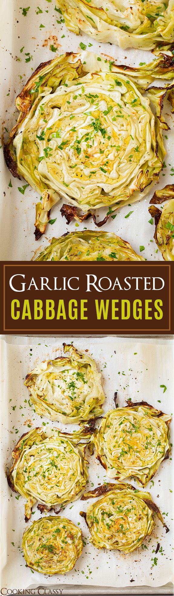 Garlic Roasted Cabbage Wedges - So easy so delicious! My favorite way to cool cabbage!