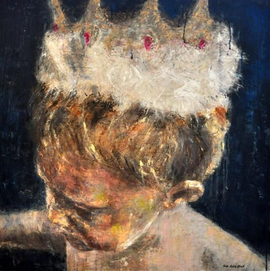 "Orange Art Gallery - Ann-Marie Brown - Boy with Crown; Sold. Encaustic & Oil on Canvas, 30"" x 30"". King. Crown. Art. Painting. Child . Moments"