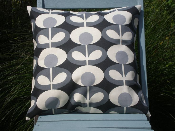 Orla Kiely Fabric 'Oval Flower' Cushion Cover - Cool Grey by CoverAndShade on Etsy