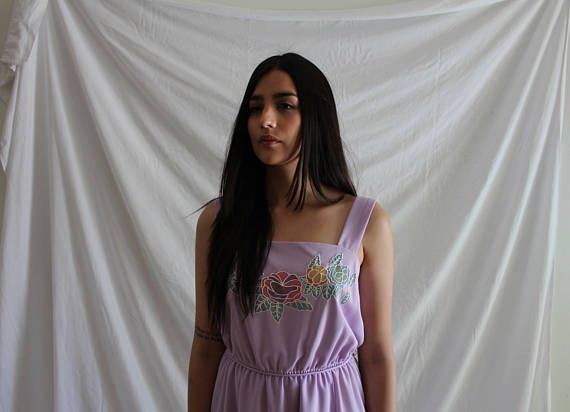 Lilac Light Purple Dress with Flowers  80s Vintage