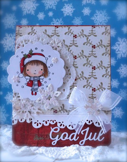Synnøves Papirverksted: Snowfall, sweet Christmas card, Penny Black stamps, handmade card, Copic, Christmas, Basic Grey,