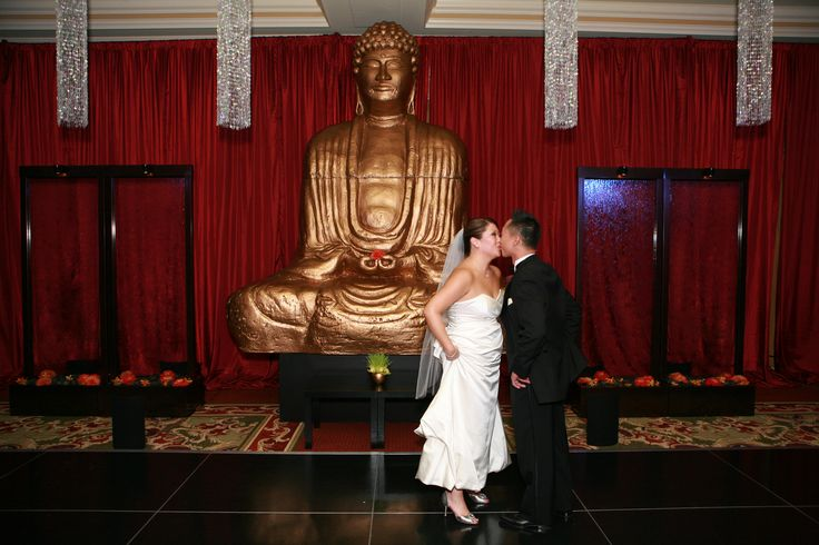 The bride and groom loved the secret dance room that Enhanced Lighting created for their Ritz Carlton SF Wedding.   Red Silk Drapery, 4' Square Crystal Chandeliers, 12' Buddah, 2 Water Features, A Black Dance floor were all installed.  The secret dance room was not revealed to the guests until after dinner.