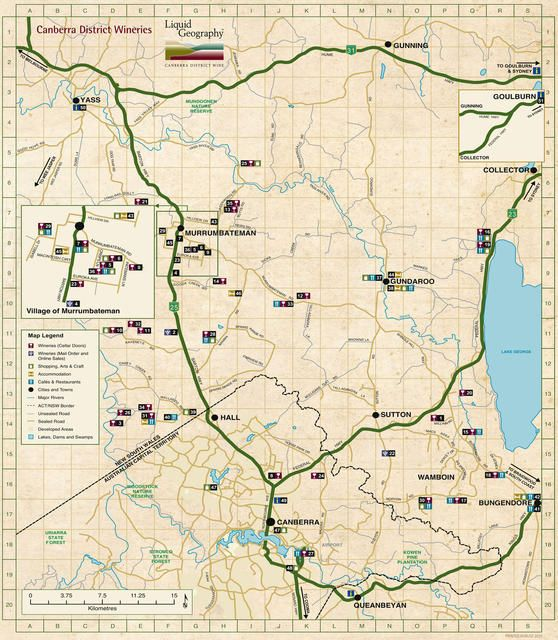 Map & touring | Canberra District Wine - Liquid Geography