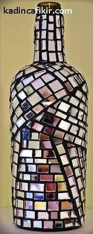 Ayna parçalarıyla cam şişe süsleme ile aynalı cam şişe süs eşyası modeli | Kadınca Fikir