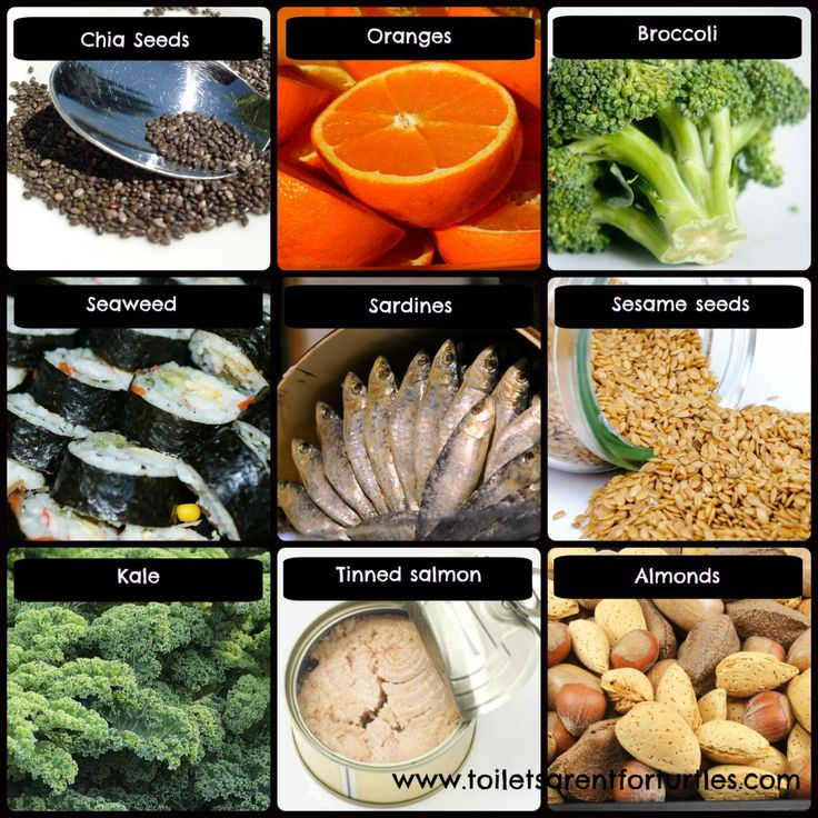 dairy free calcium rich foods - chia seeds, oranges, broccoli, seaweed, sardines, sesame seeds, kale, tinned salmon, almonds