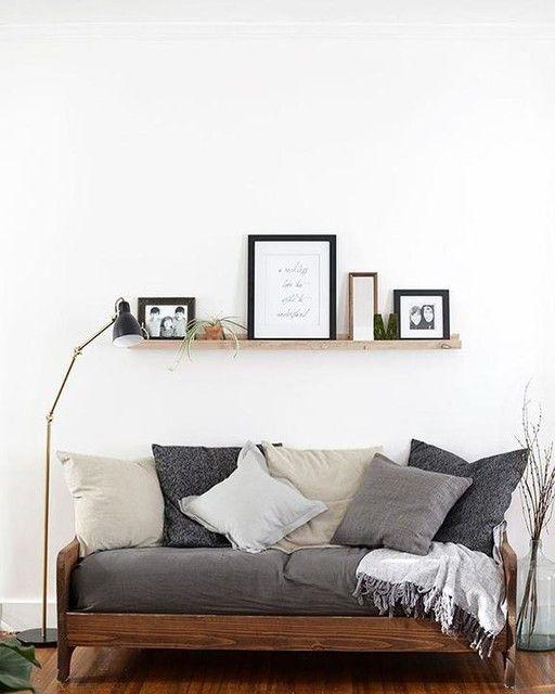 shelf above the sofa