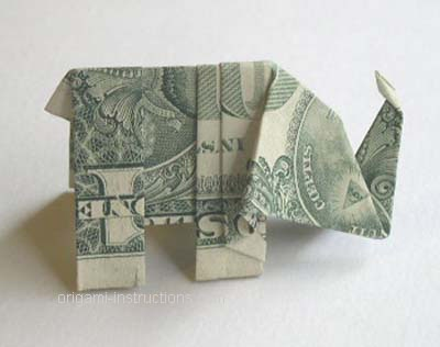 """The origami elephant from a dollar bill is sure to amuse and delight your friends, dining partners and waiterpersons. It should be considered somewhat advanced origami.  Start with a US one dollar bill. Other currencies or denominations work, but this one has a special """"feature"""" that will show up later."""