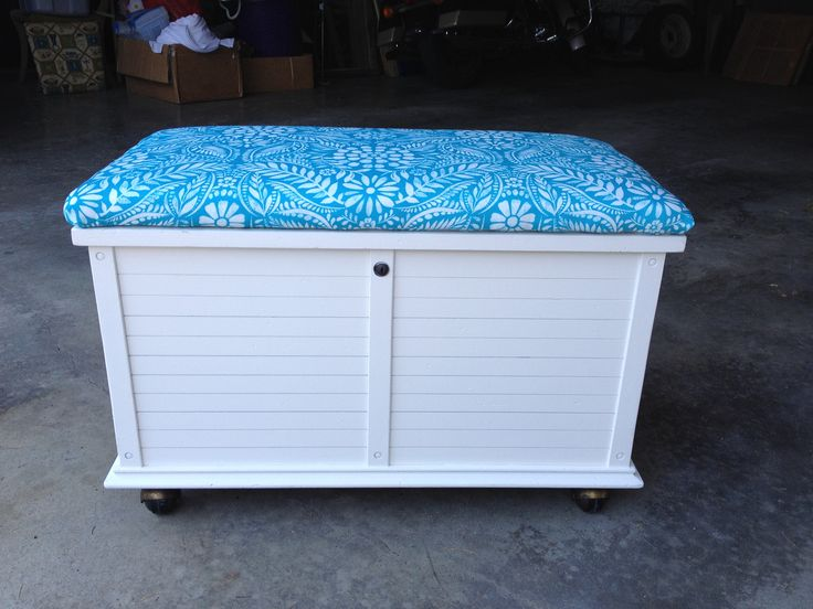 turquoise and white storage bench