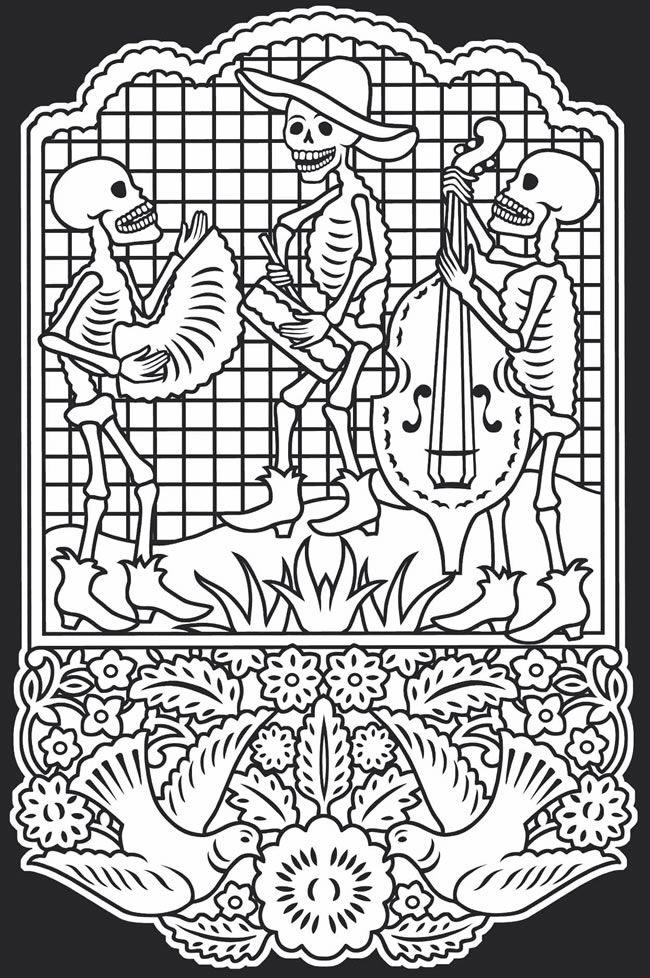 day of the dead mariachi coloring page