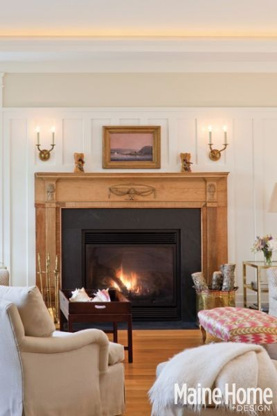 Visual Comfort wall sconces over fireplace. Featured in Maine Home and Design magazine. Our ...