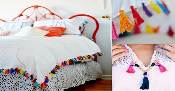 Una buena idea para renovar espacios, desde almohadones hasta cobertores de cama, es usar borlas de colores. Son muy fáciles de hacer y puedes incluso usar retazos de hilo o lana que te hayan sobrado. Puedes hacer tú mismo las borlas o bien puedes comprarlas. Aquí está el paso a paso para aprender a hacerlas tú mismo: 1. Enrolla un poco de hilo en un trozo de cartón. El cartón debe ser un poco más extenso que el largo planeado para la borla. Dale las vueltas que quieras (a lo alto del…