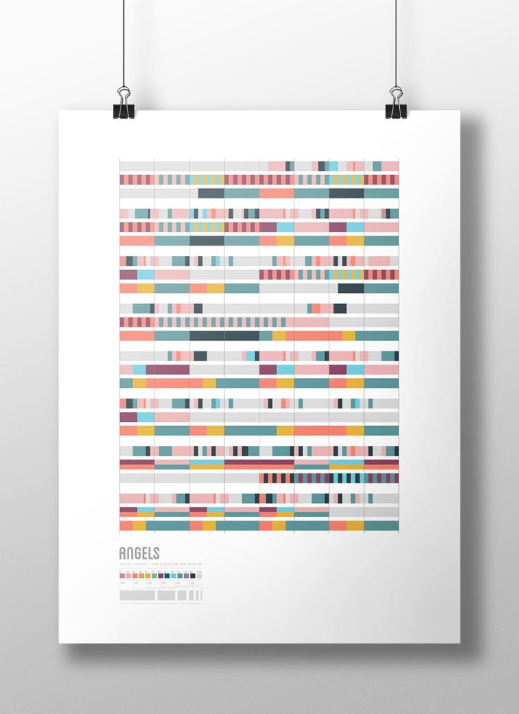 """""""Angels"""" song visualisation- Maria Tsirodimitri. The different colors represent the notes while the grey represents the pauses in the song. The different sizes of the boxes are their value within the piece. http://www.giftideascorner.com/gifts-for-new-parents/"""
