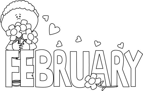 february clipart black and white - Google Search