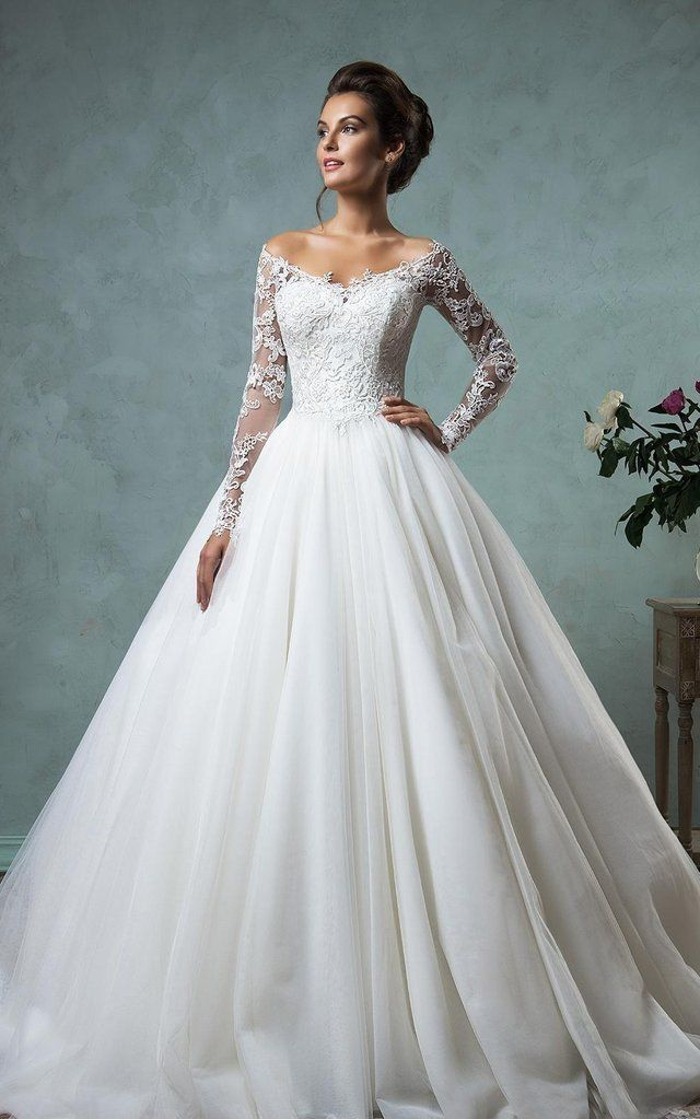 Long Sleeve A-Line Ball Gown Lace and Tulle Wedding Dress with Court Train-713555