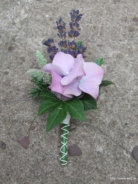 wildflower style buttonhole with lavender & hydrangea..