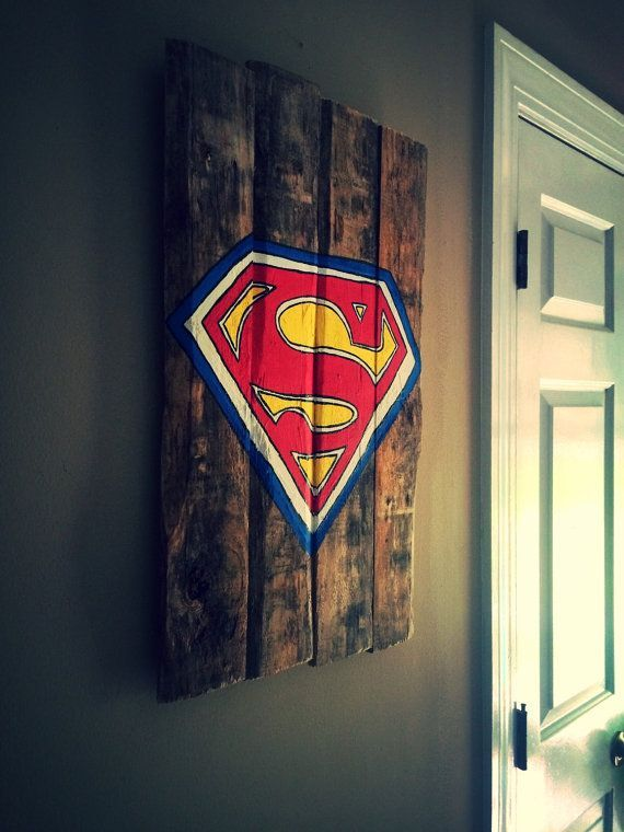 Natural Superman Painted Pallet Sign by SomeSouthernStyle on Etsy
