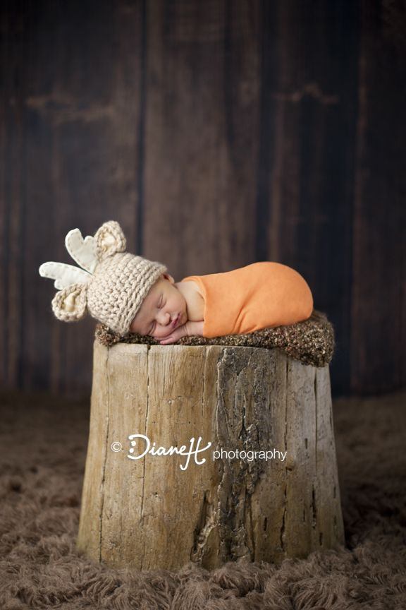 Baby Boy Newborn in baby buck deer hunting @DianeH Photography