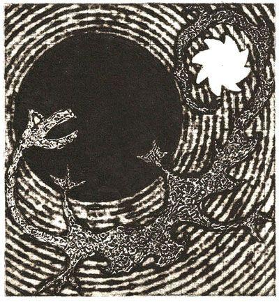 Title: Complex Dragon Small scale collagraph print