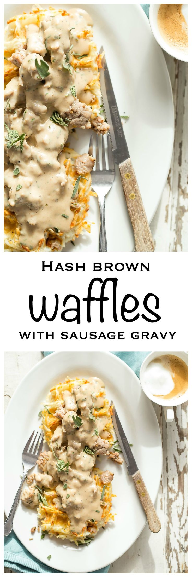 Crispy hash brown waffles covered in a rich rosemary and sage sausage gravy - Foodness Gracious