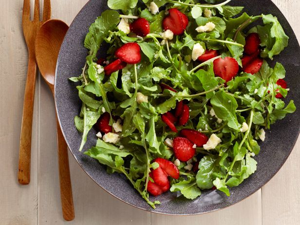 Recipe of the Day: Simple Strawberry-Greens Salad          Sunny tosses peppery greens and sweet berries with a tangy lime dressing for a quick-fix salad.           #RecipeOfTheDay: Food Network, Sweets, Vinaigrette Recipe, Lime Vinaigrette, Strawberries, Strawberry Arugula Salad, Summer Salad, Limes