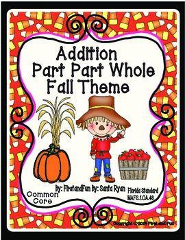 Autumn Theme Part Part Whole Addition Mat and Worksheets https://www.teacherspayteachers.com/Product/Autumn-Theme-Part-Part-Whole-Addition-Mat-and-Worksheets-Game-MAFS-Common-Core-1511962