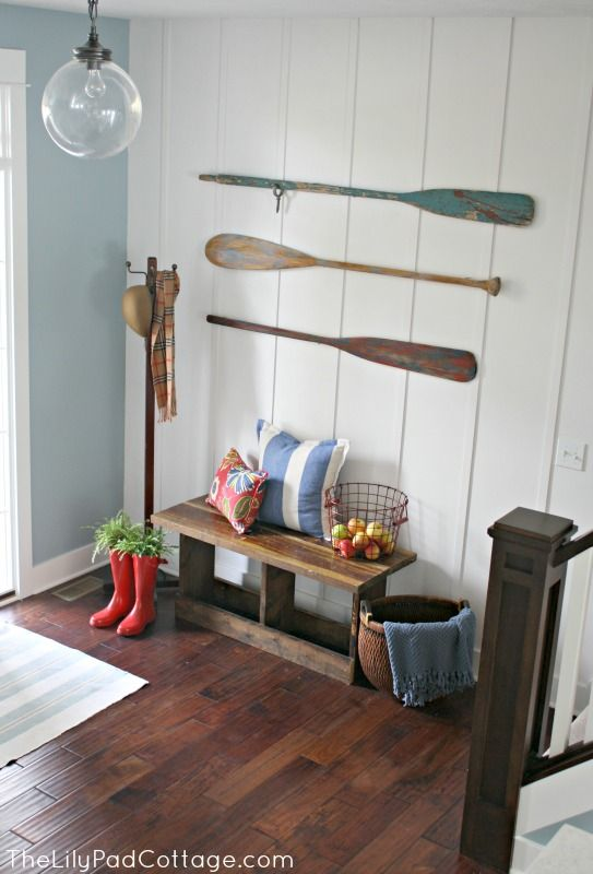 Entry way decor and planked wall..maybe premade...check into it at the garden center