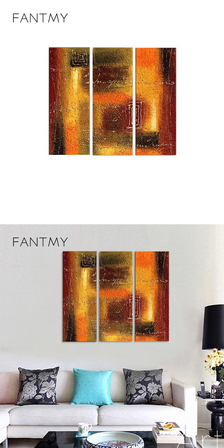 FANTMY 2017 new arrive Three-picture Combinatio painting for living room  wall canvas HandPainted Abstract