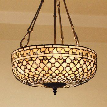 Tiffany Ceiling Pendant Light with Geometric Neutral Coloured Glass