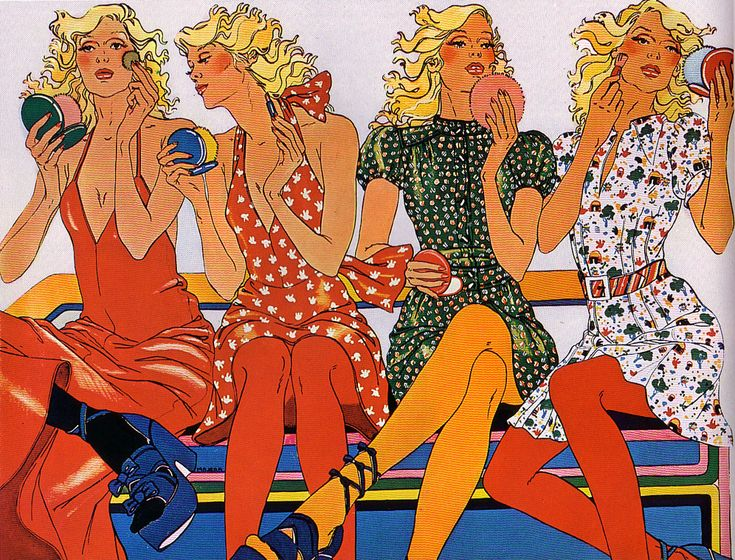 Illustration from French graphic artist Hélène Majera, created around 1976 for Helanca textiles.
