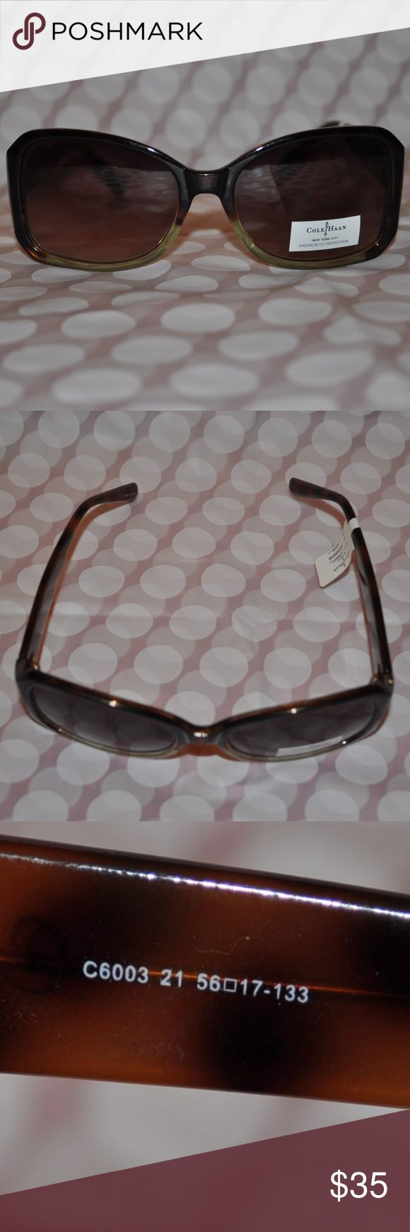 Cole Haan Women's Sunglasses Genuine Cole Haan Women's Sunglasses, Style No. 6003,Tortoise and Green Fade Frame/Brown Gradient Lens.  Plastic frame and temples.  Size:  56mm -  17mm - 133mm. New, unused with tags from pet-free, smoke-free home. Cole Haan Accessories Sunglasses
