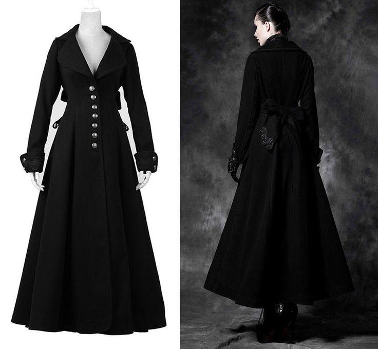 Manteau Long Cintré Gothique Lolita Victorien Burlesque Broderie Noeud Punkrave   eBay