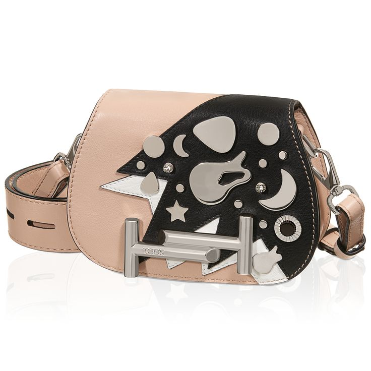 Tod's Micro Double T crossbody bag in smooth leather with contrasting inserts, crystals and metal pins and flap with iconic magnetic fastening in branded metal. Chic and versatile, the Double T can be carried on a belt around your waist or crossbody style thanks to the removable strap with vertical perforations. #THELUXER #ITALIANSTYLE