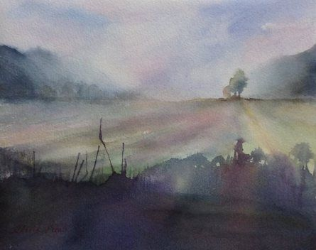 Morning Mist - watercolour, paper Arches 30 x 24cm by OliviArt (scheduled via http://www.tailwindapp.com?utm_source=pinterest&utm_medium=twpin&utm_content=post27400316&utm_campaign=scheduler_attribution)
