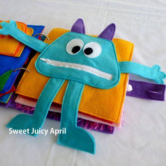 Monster Zipper Mouth Quiet Book Page por SweetJuicyApril en Etsy