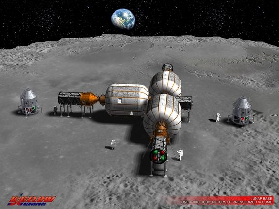 Moon Space Law: Legal Debate Swirls Around Private Lunar Ventures by Leonard David, Space.com's | 2/24/15 Commercial businesses are eyeing the moon. This early concept art shows a lunar operation as envisioned by Bigelow Aerospace. The private firm is intent on leveraging its work on expandable habitats in low Earth orbit for use on the moon.