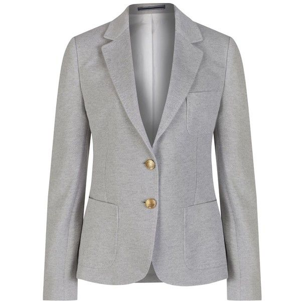 Women's GANT Jersey Pique Blazer (1.180 RON) ❤ liked on Polyvore featuring outerwear, jackets, blazers, gant, fitted blazer, fitted jacket, jersey blazer and jersey jacket