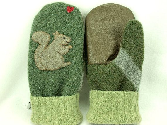 Men Felted Wool Mittens Squirrel Sweater Mittens by ForMyDarling
