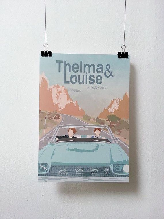 Affiche de film Thelma & Louise - Poster Ridley Scott A3 Print Illustration by Minuscule Motion Sold on Etsy Present Idea - Wish list - Christmas Present