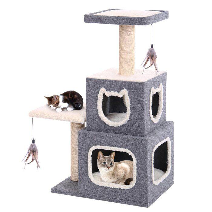 Chloe Dual Hide Away Landing Pad And Scratching Posts Reviews Joss Main Cat Lounge Cat Cube Cat Condo
