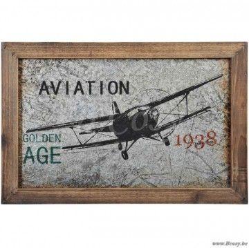 """J-Line Kader aviator metaal-hout naturel grijs 60 <span style=""""font-size: 0.01pt;"""">Jline-by-Jolipa-44768-kader-kunstkader-cadre-tableau-canevas-canvas-cadre-eshop-kunstwerk-design-kader-art-rur</span>"""