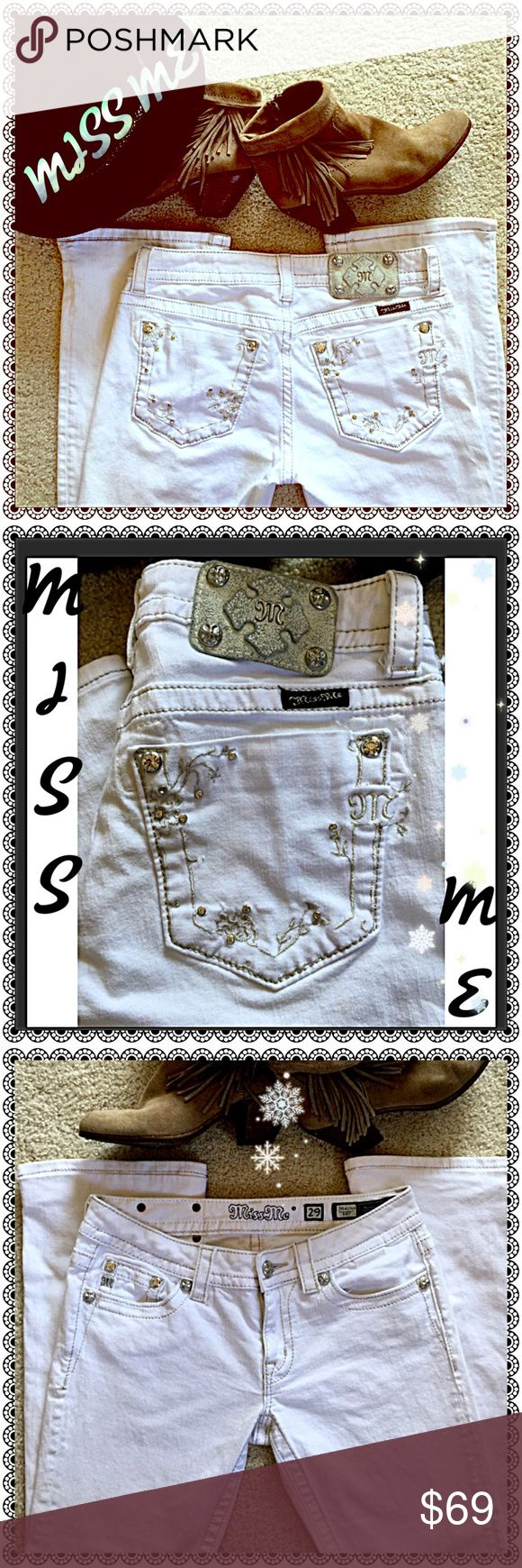 MISS ME GORGEOUS ❄️️WINTER WHITE BOOTCUT JEANS❄️️ A STUNNING Pair of MISS ME Rhinestone Embellished Bootcut Jeans in PERFECT Condition! GORGEOUS Winter White❄️️Looks AMAZING With Just About Everything! Love ❤️ These! ❄️️ Miss Me Jeans Boot Cut