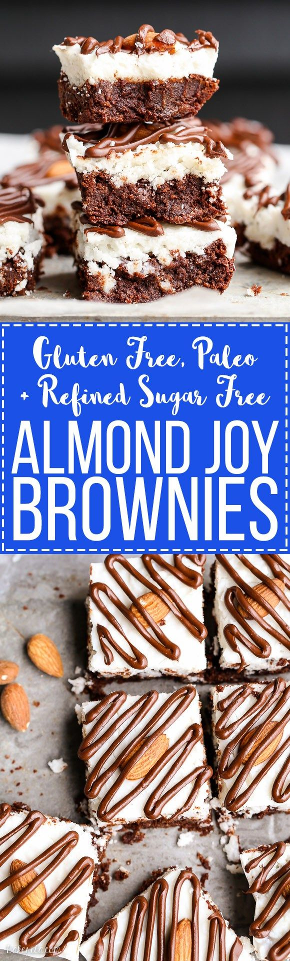 These Almond Joy Brownies have a coconut butter topping and a drizzle of dark chocolate - you'd never guess that these indulgent brownies are gluten-free, refined sugar-free, and Paleo!