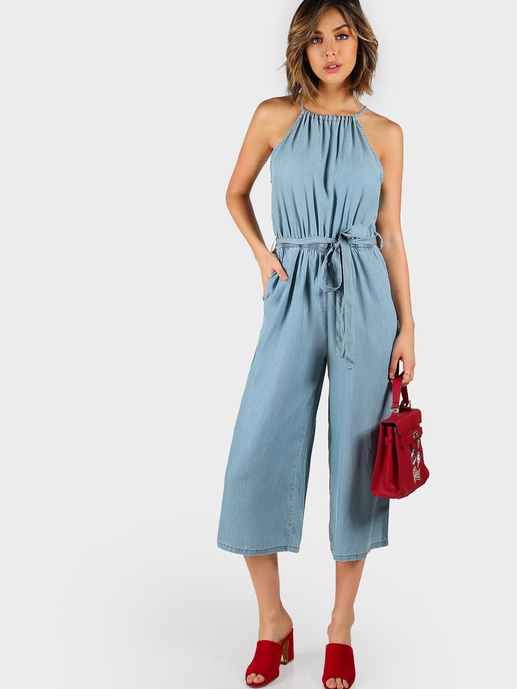 Shop Self Tie Halter Split Back Chambray Culotte Jumpsuit online. SheIn offers Self Tie Halter Split Back Chambray Culotte Jumpsuit & more to fit your fashionable needs.