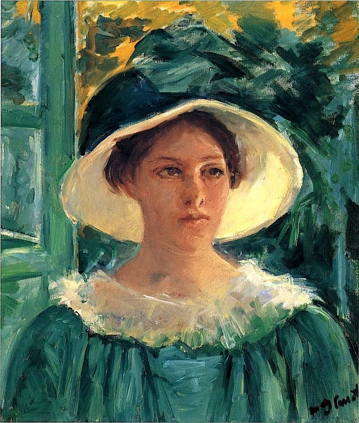 Mary Cassatt (American 1844–1926) [Impressionism, Portraiture] Young Woman in Green, Outdoors in the Sun, circa 1914.