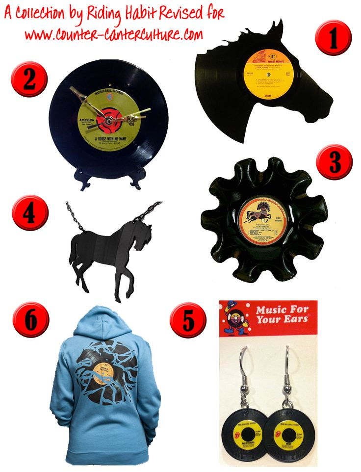 Equestrian Fashion and Decor 1. Neil Young with Crazy Horse Wall Art by Second Spin Designs 2. America – A Horse With No Name Vinyl Record Clock by Raven Record Shop 3. George Harrison Dark Horse Vinyl Record Bowl by Coleraine Creations 4. Vinyl Record Horse Silhouette Necklace by Random Perfect 5. Rolling Stones – Wild Horses Miniature Vinyl Record Earrings by Raven Record Shop 6. Disc Jockey design by Enkel Dika from Threadless