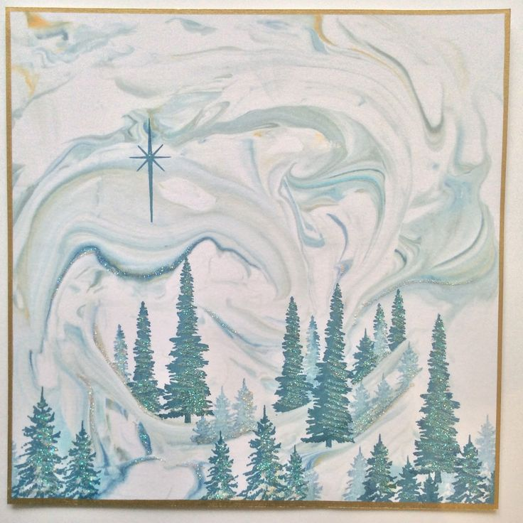 Barbara Gray's Blog. marbled card - lovely for a Christmas card