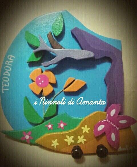 """""""Le printemps"""" Appendiabiti, cm 35×35 circa. I Ninnoli di Amanta 2016."""