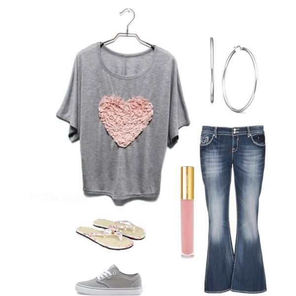 Plus-Size casual outfit. grey tshirt with pink heart, jeans and choice of accessories. #9 in sets of jeans and tshirt s by im-karla-with-a-k on Polyvore featuring polyvore fashion style maurices Vans Monsoon Isaac Mizrahi