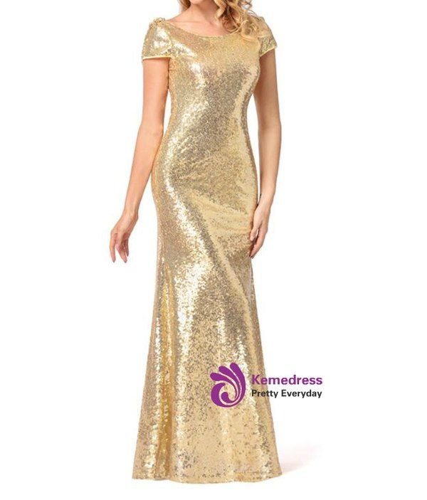 b8267153 In Stock:Ship in 48 hours Mermaid Gold Sequins Backless Prom Dress ...