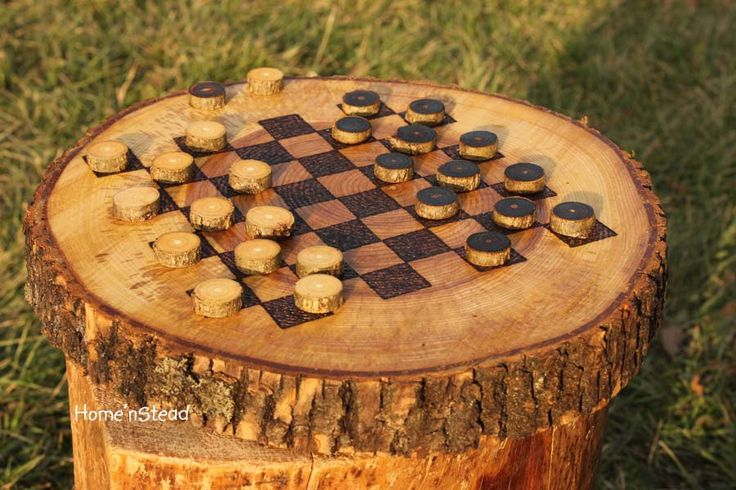 Rustic Log Checker Game Set 26 rustic checker pieces Natural Waldorf Classic Family Board Game. $86.00, via Etsy.